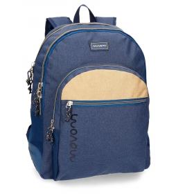 Mochila escolar Movom Babylon Azul doble compartimento -33x44x13,5cm- adaptable a carro