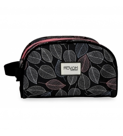 Neceser Doble Compartimento Adaptable Movom Leaves Coral -26x16x11cm-