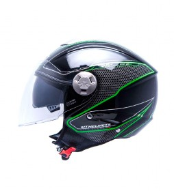 MT Helmets Casco jet MT City Eleven SV Dynamic negro, verde