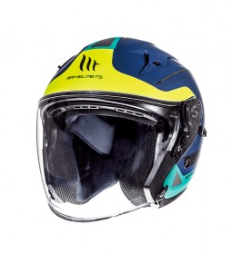 MT Helmets Jet helmet MT Avenue SV Crossroad blue, yellow fluor, matte green