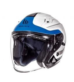 MT Helmets Jet helmet MT Avenue SV Crossroad white pearl, blue gloss