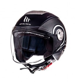 MT Helmets Casco jet MT City Eleven SV Tron nero opaco, bianco
