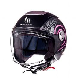 MT Helmets Jet helmet MT City Eleven SV Tron matt black, fuchsia
