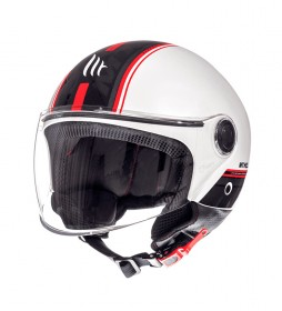 MT Helmets Casco jet MT Street Entire D1 blanco, rojo
