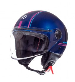 MT Helmets Casque Jet MT Street Entire J4 bleu, rose