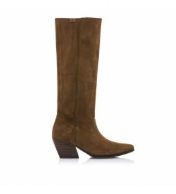 Botas de piel Centa marrón -Altura tacón: 5,5 cm-
