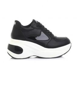 Zapatillas de piel Bevolt negro -Altura plataforma+cuña: 8cm-