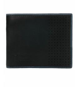 Monedero-Billetero de piel Comet negro -2x11x9cm-