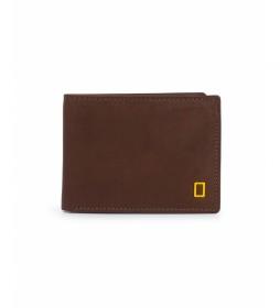 Billetero de piel Fire marrón -2x10,5x8cm-