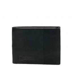 Billetero de piel Landscape negro -2x10,5x8 cm-