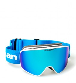 Ocean Sunglasses Aspen white snow glasses with blue revo glass