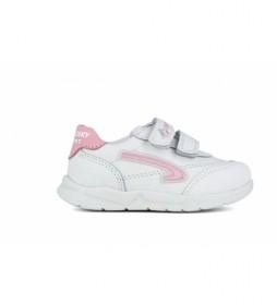 Zapatillas de piel 278107 blanco, rosa