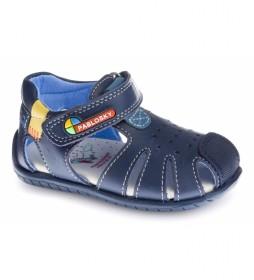 Sandalias de piel Kenia marino