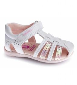 Sandalias de piel Kim blanco, rosa