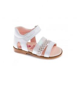Sandalias de piel Kuki blanco, nacar