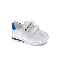 Zapatillas de piel Zip blanco, azul
