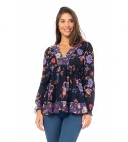 Blusa Estampada Floral Escote V marino, lila