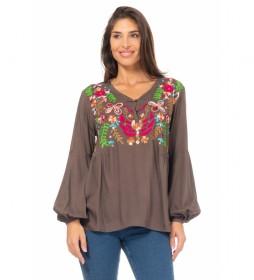 Blusa Bordada marrón