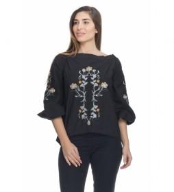 Blusa Lisa Estampada negro