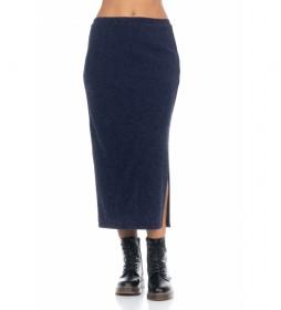 Falda lisa Knit azul