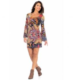 Vestido Estampado Punto Corto multicolor