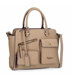 Bolso Pepe Jeans Zoe taupe -29x25x12cm-