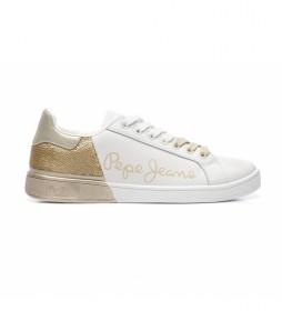 Zapatillas de piel Brompton Sequins blanco, dorado