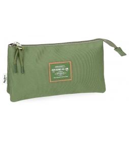 Estuche Pepe Jeans Cross Verde Kaki tres compartimentos -12x22x5cm-