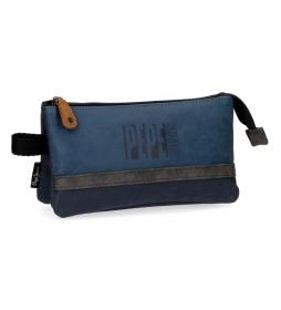Estuche tres compartimentos Pepe Jeans Max azul -22x12x5cm-