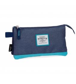 Estuche tres compartimentos Pepe Jeans Molly azul -22x12x5cm-