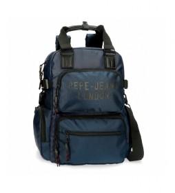 Mochila Pepe Jeans Bromley con bandolera azul -28x41x7cm-