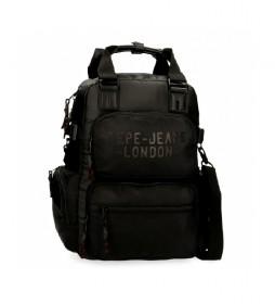 Mochila Pepe Jeans Bromley con bandolera negro -28x41x7cm-