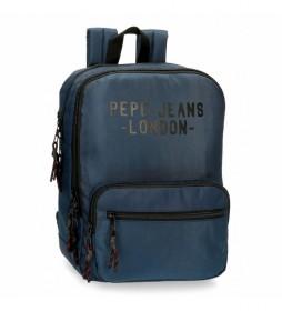 Mochila Pepe Jeans Bromley para portátil azul -27x36x12cm-