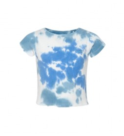 Camiseta canalé Anita azul, blanco
