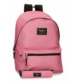 Mochila y estuche Aris Laptop rosa -31x44x17.5cm-