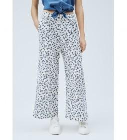 Pantalón Culotte Lois blanco, azul
