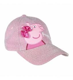 Gorra Premium Brillante Lazo Peppa Pig rosa
