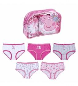 Pack 5 Braguitas  Peppa Pig rosa