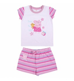 Pijama Corto Single Jersey Peppa Pig rosa, blanco