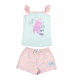Pijama Corto Single Jersey Peppa Pig azul, rosa