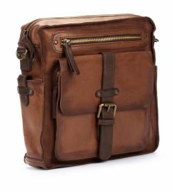 Bolso bandolera de piel  MHA-160 marrón -26x27x7cm-