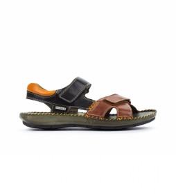 Sandalias de piel Tarifa 06J negro, marrón