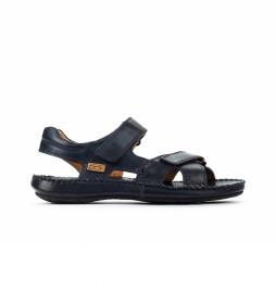 Sandalia de piel Tarifa 06J azul marino