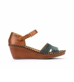 Sandalias de piel Margarita 943 turquesa -Altura cuña: 5cm-