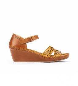 Sandalias de piel Margarita 943 amarillo -Altura cuña: 5cm-