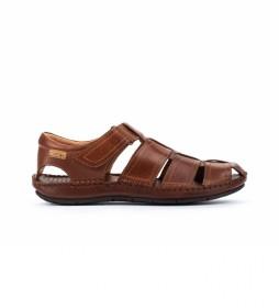 Sandalias de Piel Tarifa 06J marrón