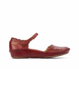 Sandalia de piel P. Vallarta 655-0906 rojo