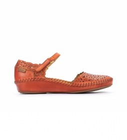 Sandalia de piel P. Vallarta 655-0906  naranja