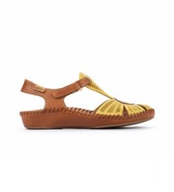 Sandalias de piel P. Vallarta 655-0575 amarillo