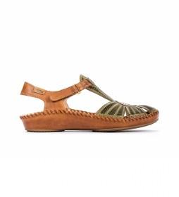 Sandalias de piel P. Vallarta 655-0575 verde